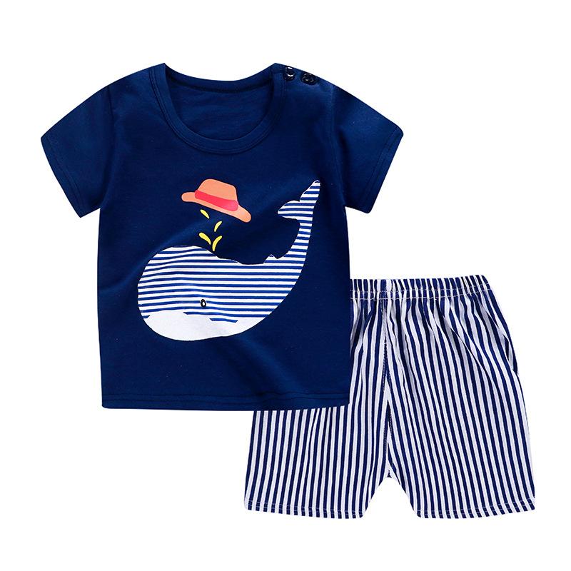 Đồ Suits trẻ em Bộ đồ ngắn tay cotton trẻ em mới