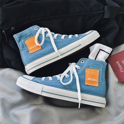 giày vải Giày điên với cùng một đoạn 2020 mùa xuân giày cao mới mới giày nam màu xanh nhạt quốc gia