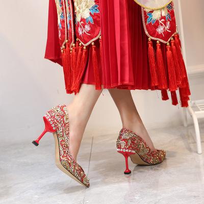 Giày cô dâu Giày cưới xiuhe nữ đẹp với năm 2020 giày cao gót mũi nhọn mới nữ cao gót đỏ một thế hệ