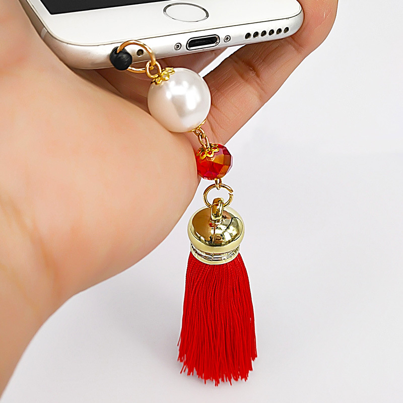 YONGZE Nút cắm chống bụi Cao cấp Hàn Quốc băng lụa tua điện thoại di động mặt dây chuyền thủ công sá
