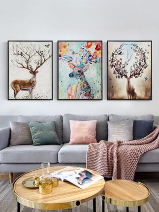 Lange Tranh trang trí  Bức tranh tường Bắc Âu ba kết hợp sofa nền tường phòng khách trang trí bức tr