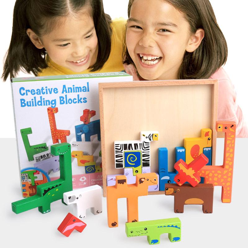 Xếp hình 3D bằng gỗ Giáo dục trẻ em hoạt hình động vật câu đố ghép hình ba chiều câu đố bé giáo dục