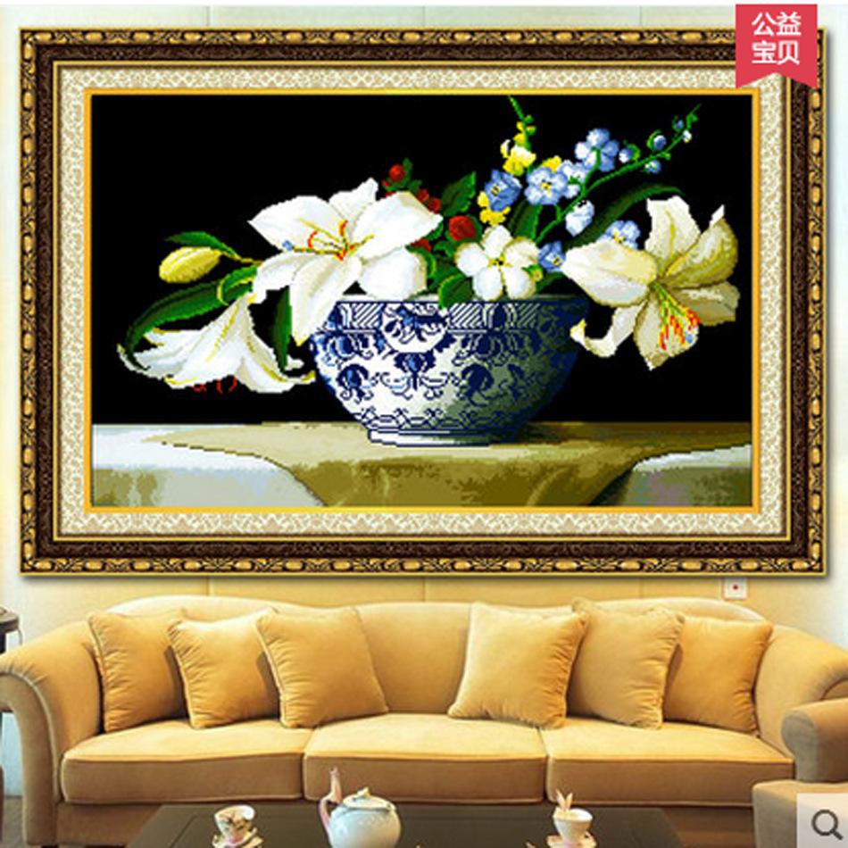 MNLS Tranh thêu chữ thập Mới thêu toàn bộ phòng khách thêu chữ thập Mona Lisa nước hoa lily chéo nhà
