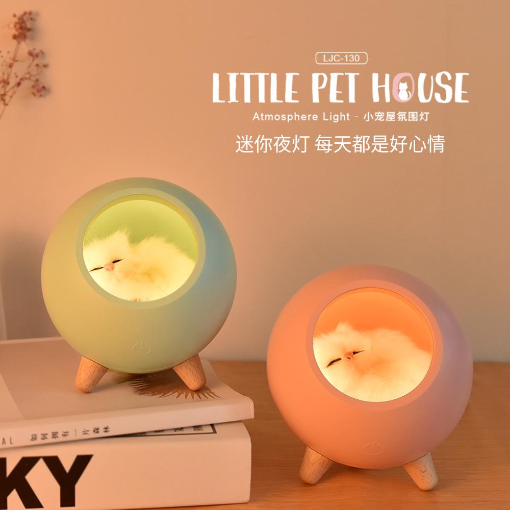 YJ Đèn tường Sản phẩm mới lạ sáng tạo Kitty USB sạc đêm không khí phòng ngủ với đèn ngủ ấm áp cho mè