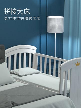 Nôi trẻ sơ sinh Giường cũi trẻ em bằng gỗ rắn đa chức năng khâu giường giường sơ sinh nôi châu Âu t