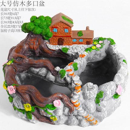 Cảnh quan Mini Đặc trưng ngôi nhà lớn nhiều cổng biệt thự trên không sân vườn nhỏ cây mọng nước chậu