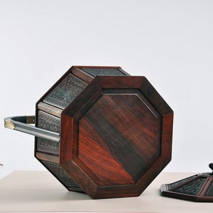 Yuzhutang Đồ trang trí bằng gỗ Red Rosewood Hexagon Basket Tùy chỉnh Thủ công mỹ nghệ Trang trí bằng