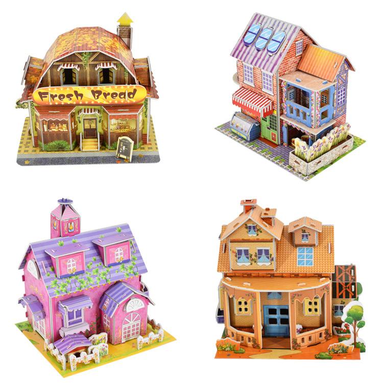 MOHAN Tranh xếp hình 3D Lớn 4 mảnh câu đố giáo dục trẻ em DIY đồ chơi 3D gian hàng ba chiều nóng