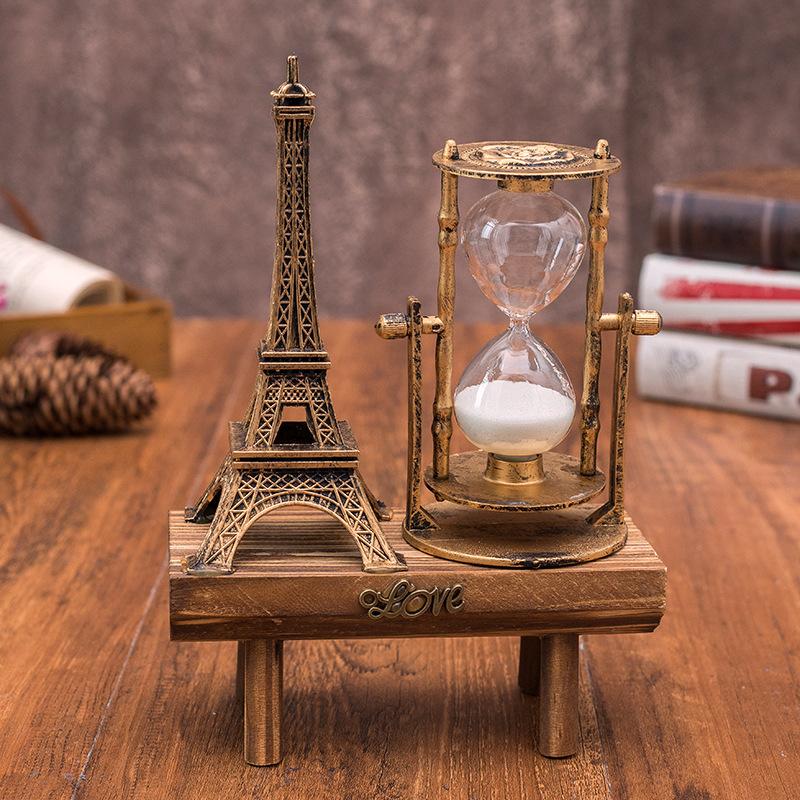 RUNTING Đồ trang trí bằng gỗ Vintage Paris Tower Đồng hồ cát trang trí 1047 Quà tặng sinh viên sáng