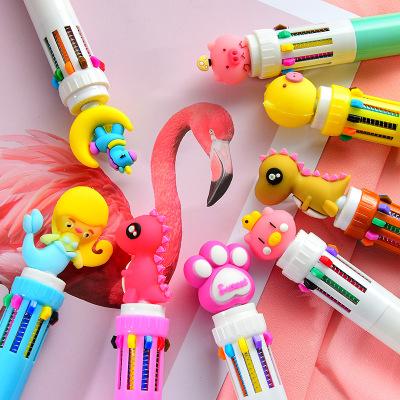 LUHAO Bút bi Dễ thương mười điểm bút bi cô gái hoạt hình trái tim nhiều màu nhấn bút bi học sinh đa