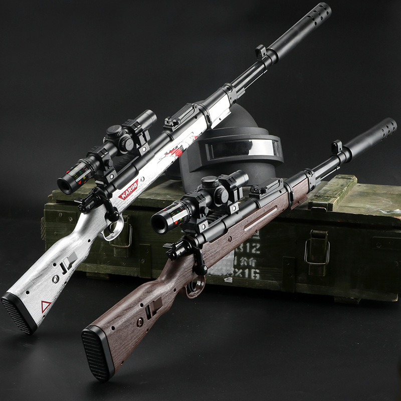 Súng giả Back pull bolt Jedi 98K sniper water gun eat chicken toy with the same manual AWM simulatio