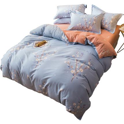 Bộ drap giường  Người Nam Cực bốn mảnh bông cotton quilt chăn ký túc xá ba mảnh giường đặt bộ đồ gi