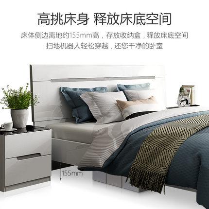giường  Giường đôi 1,8 mét phòng ngủ chính hiện đại tối giản giường cưới lưu trữ kinh tế giường cao