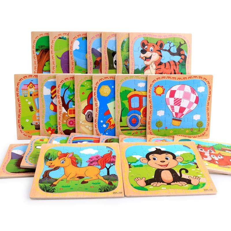Xếp hình 3D bằng gỗ 16 chiếc động vật mô hình phim hoạt hình ghép hình bằng gỗ ghép hình