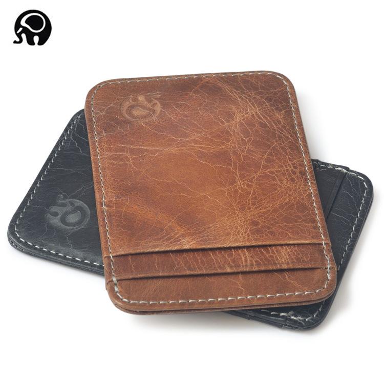 Ví đựng thẻ Vòng da voi nhỏ tinh tế 5 thẻ vị trí thẻ gói da đa chức năng tiêu đề lớp da thẻ tay áo t