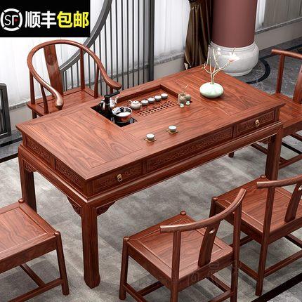 DHP Bàn trà Bàn trà kết hợp ghế gỗ nguyên khối Trung Quốc đơn giản Zen Kung Fu bàn trà bàn cà phê So