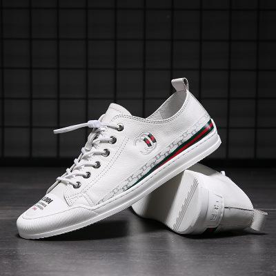 LINSEN Giày Sneaker / Giày trượt ván 2019 giày trắng mới giày nam giản dị Giày da xu hướng hoang dã