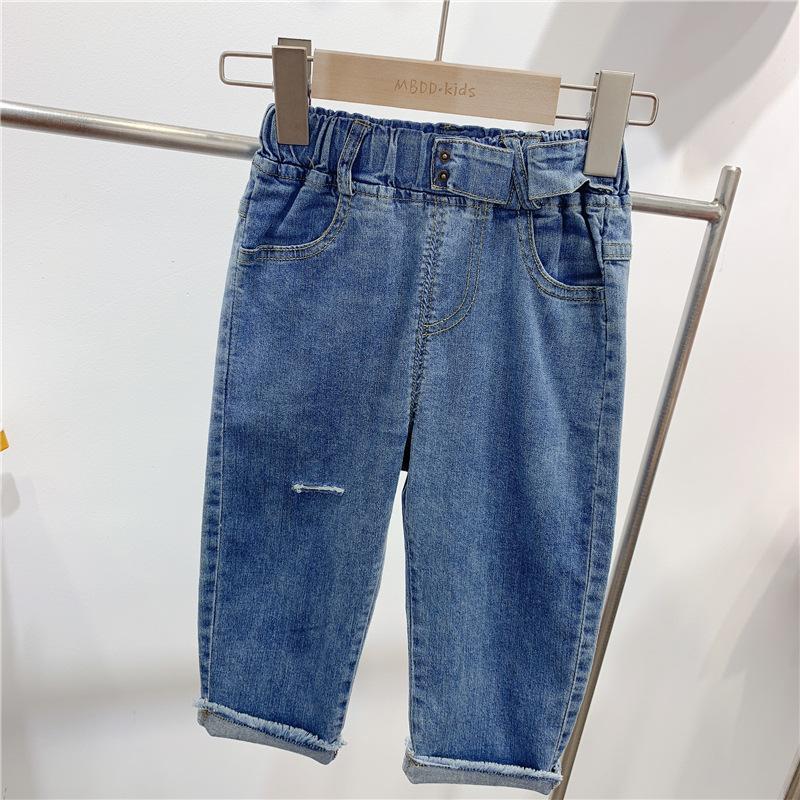 Quần trẻ em Quần jeans lỗ trẻ em không thể hoàn trả đặc biệt Chàng trai và cô gái Hàn Quốc cá tính ă