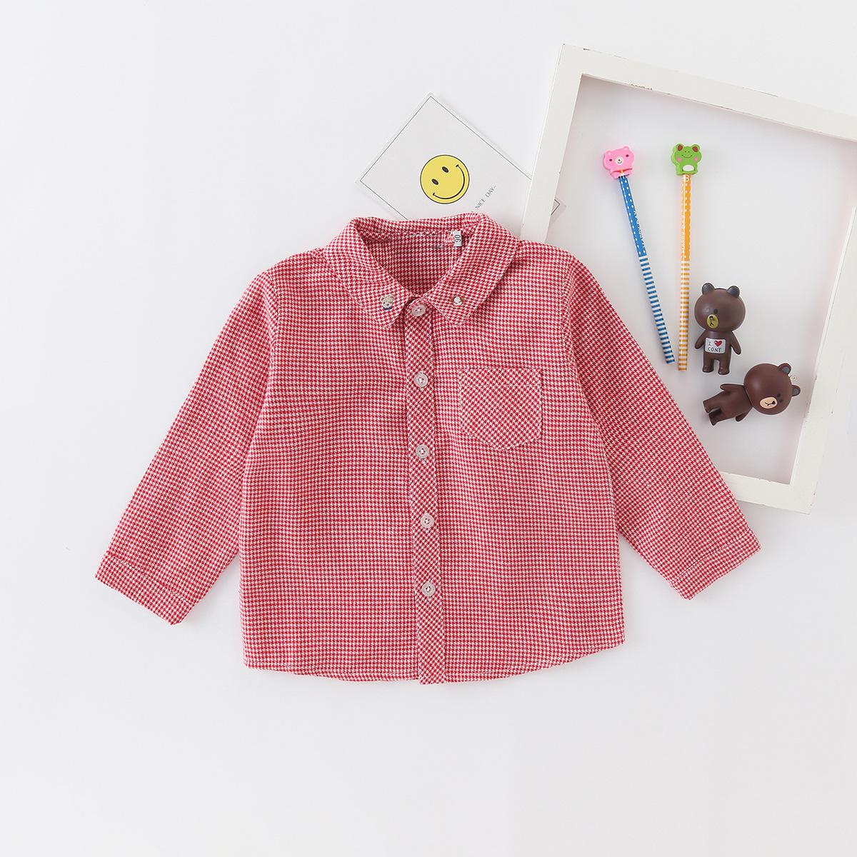 Smallcoco Áo Sơ-mi trẻ em 2020 xuân mới F nhà cotton kẻ sọc nam nữ áo sơ mi dài tay trẻ em áo thêu t