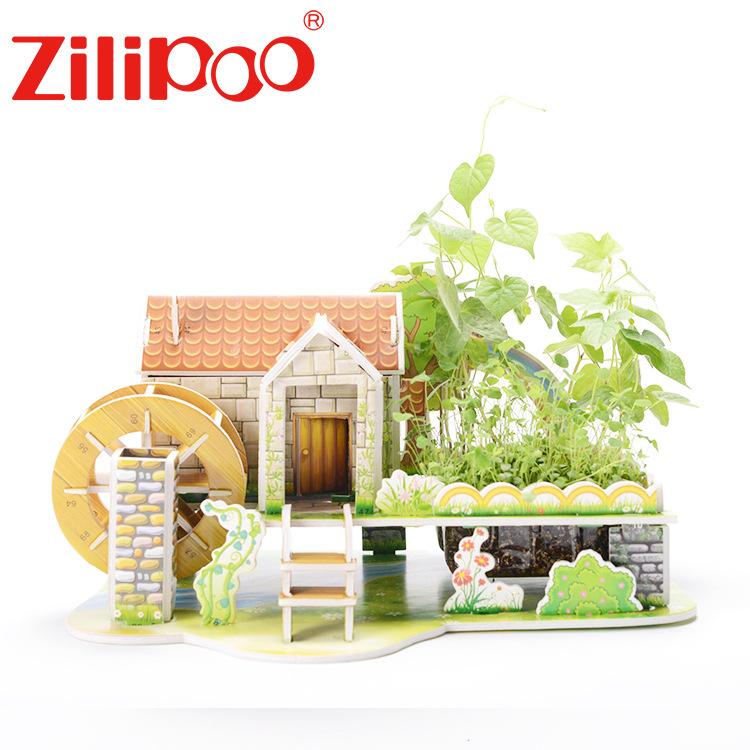 Zhilibao Tranh xếp hình 3D 3d ba chiều trồng câu đố tự làm handmade lắp ráp mô hình đồ chơi giáo dục
