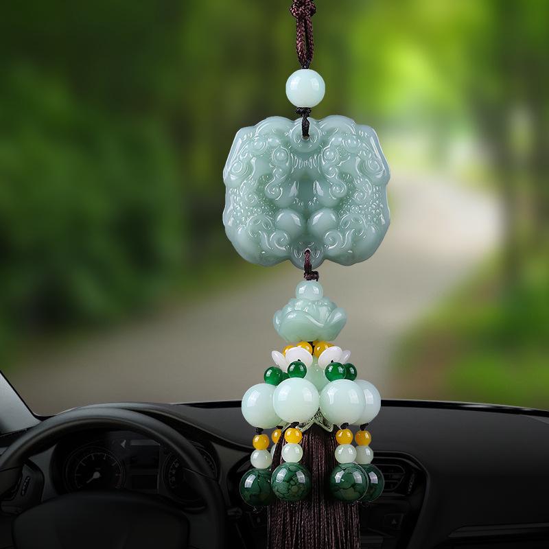 NLXW Đồ trang trí móc treo Mặt dây chuyền xe hai đầu cao cấp, truy cập hai mặt, gương an toàn, trang