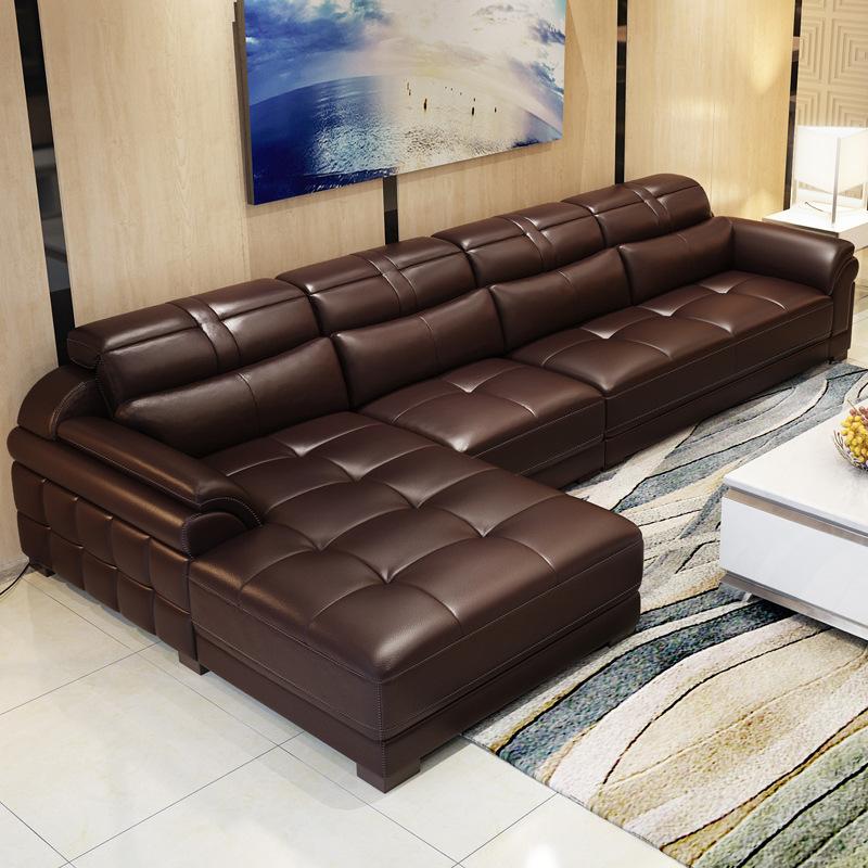 ASJN thị trường nội thất , đèn Sofa da kết hợp đầu lớp da bò hiện đại tối giản phòng khách lắp ráp đ