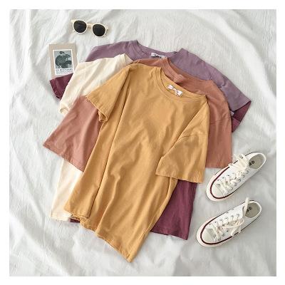áo thun Năm 2020 mùa xuân áo sơ mi ngắn tay áo nữ thời trang áo sơ mi màu bông tùy chỉnh in sản xuất