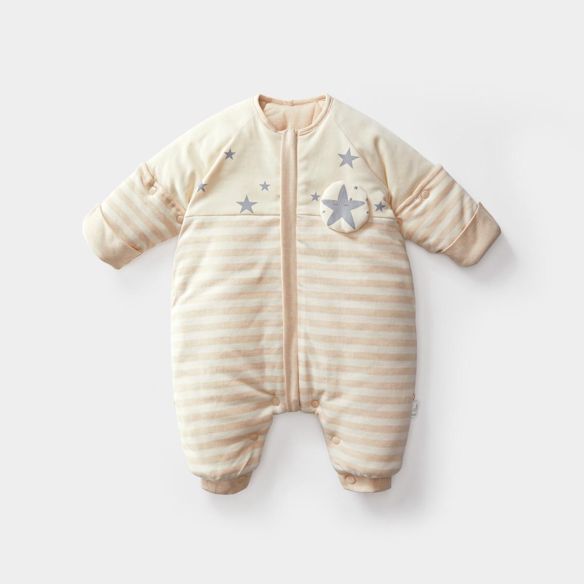 Wilberu Túi ngủ trẻ em mùa thu và mùa đông vải cotton dày màu bông có thể cởi ra một nửa tay cho trẻ