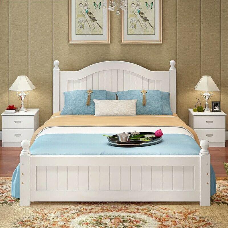 FENGRUI thị trường nội thất , đèn Nhà sản xuất tóc thẳng gỗ thông Châu Âu giường hiện đại tối giản n