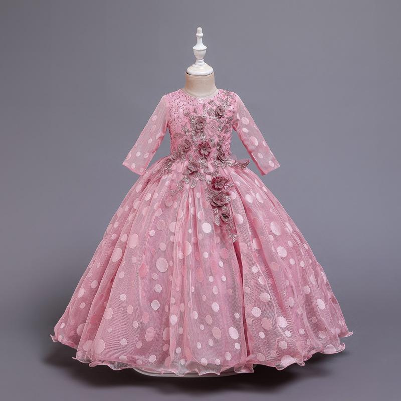LQBB Trang phục dạ hôi trẻ em Váy trẻ em mùa thu và mùa đông mới dài tay chấm bi cô gái váy hoa tran