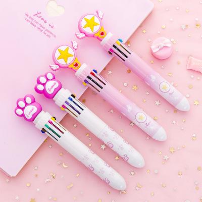 DICHEN Bút bi Trái tim cô gái hoạt hình sáng tạo nhấn bút bi nhỏ tươi 10 màu bút tay học sinh màu bú