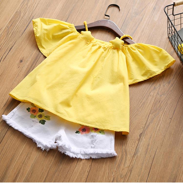 Humor Bear Trang phục trẻ em mùa hè Bộ đồ bé gái sọc mùa hè + quần jean trẻ em