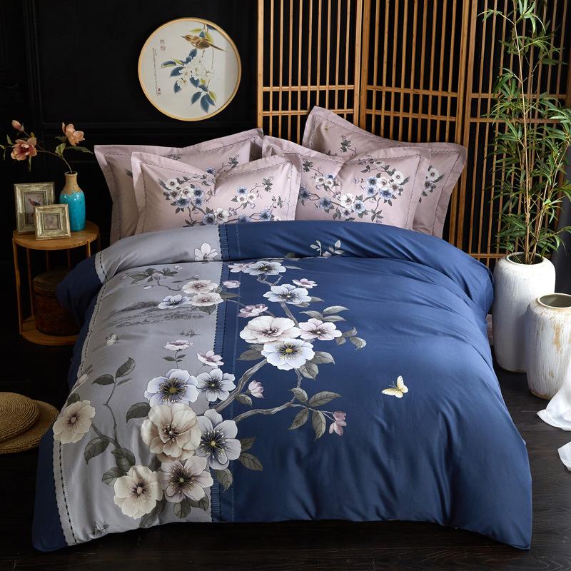 Bộ drap giường Mùa thu và mùa đông dày bộ bông chà bốn mảnh