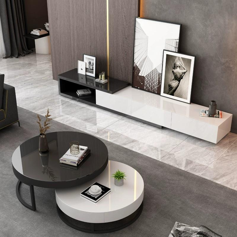 HKMF Bàn trà Phòng khách tối giản hiện đại không gỉ tròn bàn cà phê căn hộ nhỏ Bắc Âu sáng tạo bàn c