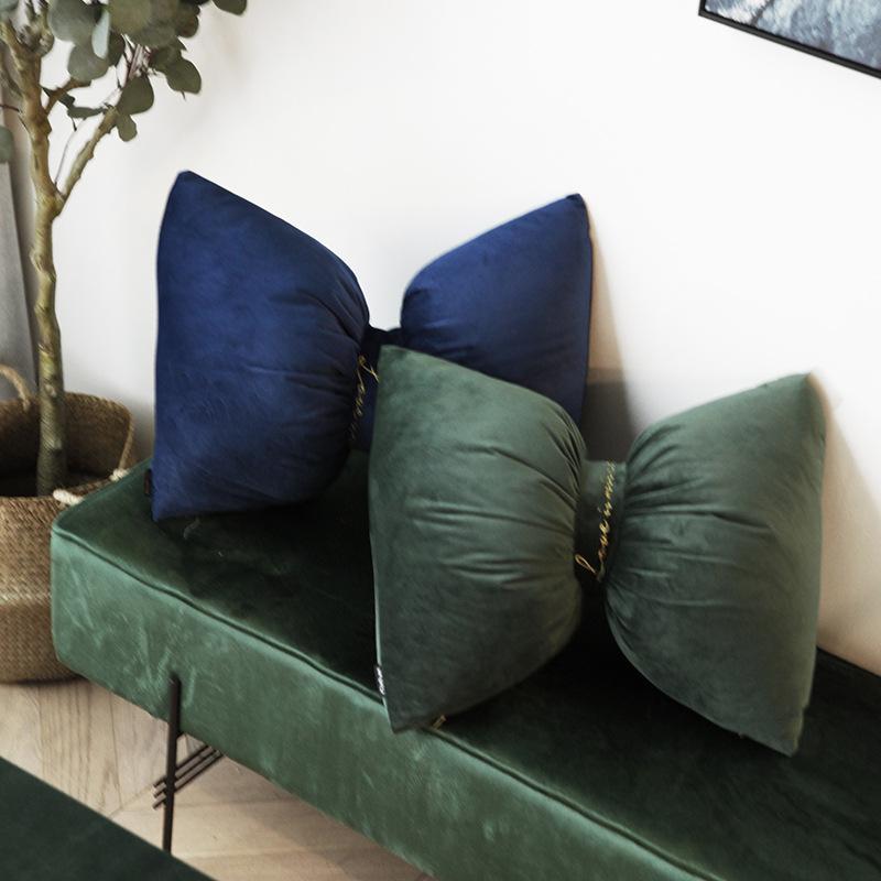 BUYI Gối tựa lưng Vải lớn nhung thêu hà lan gối khóa thắt lưng gối sofa gối xe đệm trang trí với lõi
