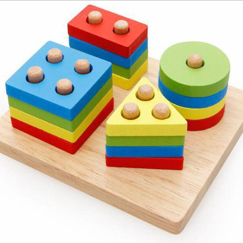 SHIYING Đồ chơi bằng gỗ Mẫu giáo trẻ sơ sinh hình học tay áo cột ferrule chèn khối xây dựng giáo dục