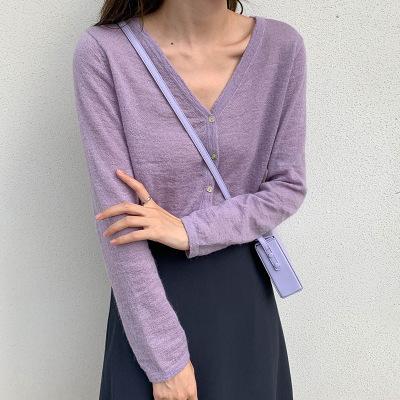 THXGIVING Áo khoác Cardigan Áo len dệt kim cổ chữ V của Hàn Quốc, áo khoác nữ mùa xuân 2020 mới mặc