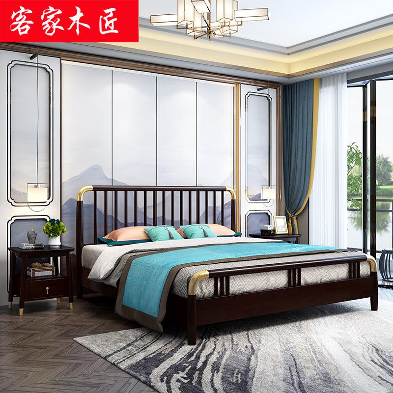 KEJIA giường Ánh sáng sang trọng 1,8 mét hộp thấp Bắc Âu gỗ rắn đơn giường đôi căn hộ nhỏ giường cướ