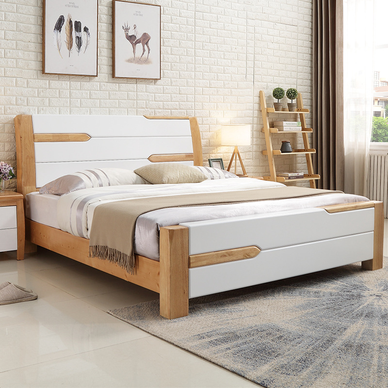 LIBUYI thị trường nội thất , đèn Giường gỗ nguyên khối 1,8 mét giường đôi 1,5 Nhật ký Bắc Âu hiện đạ