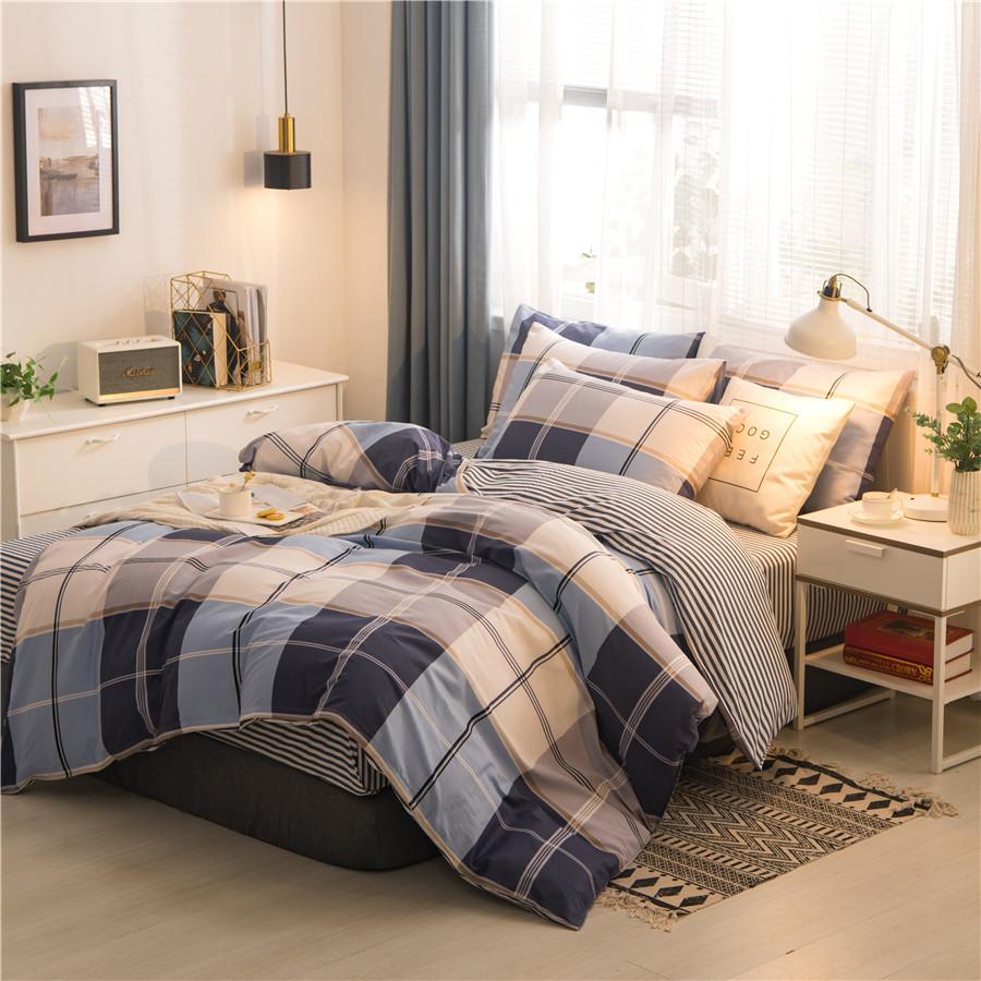 drap mền Cotton bốn mảnh bộ đồ giường cotton sinh viên ký túc xá chăn đơn tấm bông ba mảnh màu đỏ