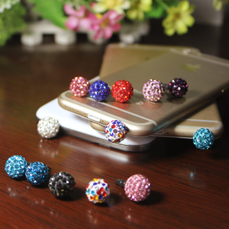 ZHENGZI Nút cắm chống bụi Bụi bóng rhinestone Cắm bụi Hàn Quốc Cắm Iphone Bụi cắm Kim cương bụi