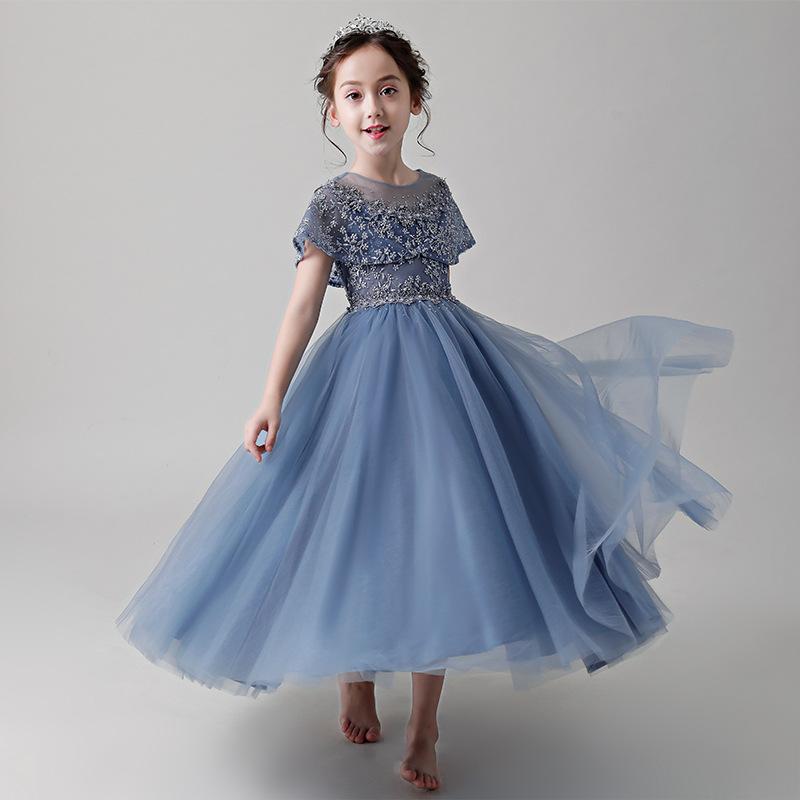 Trang phục dạ hôi trẻ em Cô gái cưới váy công chúa 2020 trẻ em mới phồng sợi đàn piano biểu diễn tra