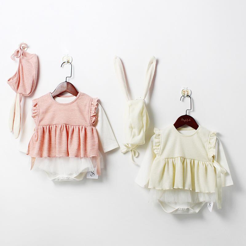 Engepapa Đồ Suits trẻ em quần áo trẻ em 2020 mùa xuân áo lưới bé + vest + mũ tai thỏ nữ hộp quà bé p