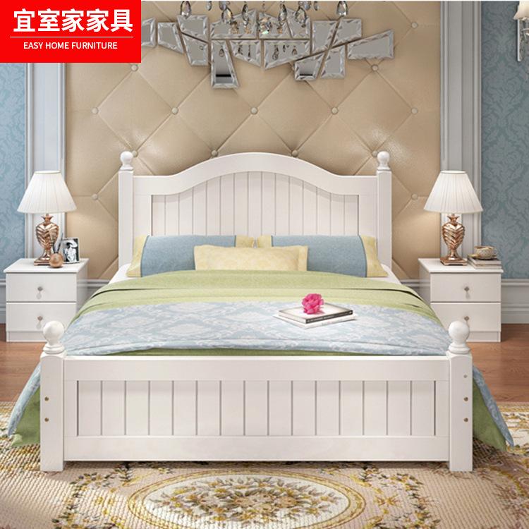 thị trường nội thất , đèn Nhà máy trực tiếp giường gỗ rắn 1,8 mét giường đôi Bắc Âu hiện đại tối giả