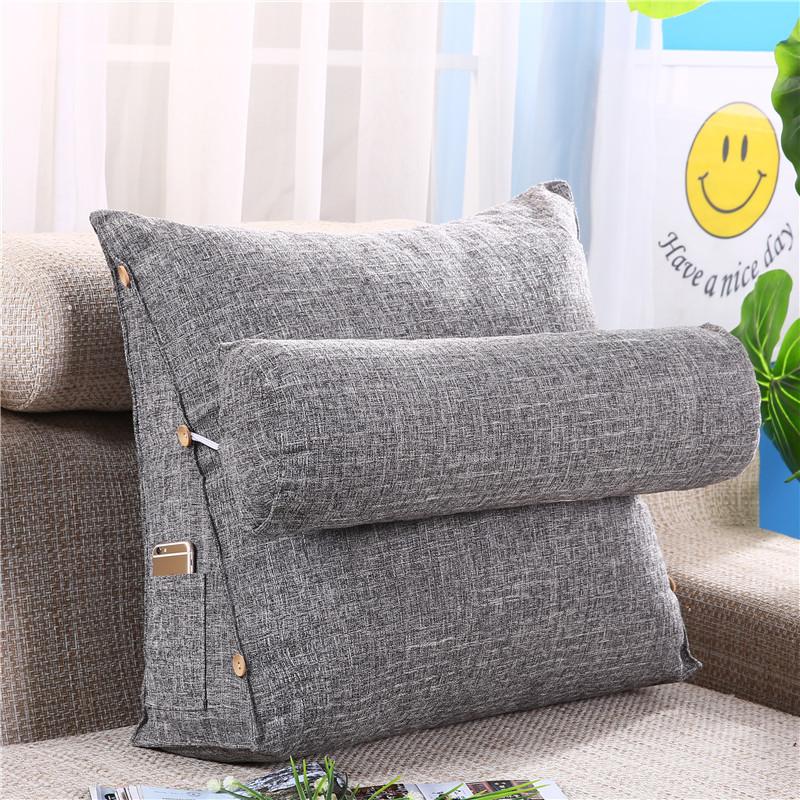 YONGGUANG Gối tựa lưng Màu sắc tinh khiết đơn giản cotton và lanh tam giác đệm nhỏ sofa tươi gối đầu
