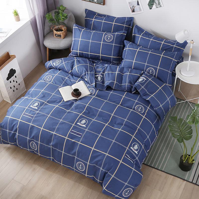 HONGYILIAN Bộ drap giường Mùa thu và mùa đông mới twill cotton phù hợp với bốn mảnh