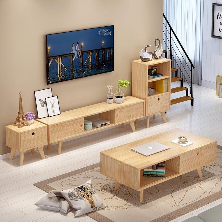 Kệ Tivi Tủ tivi đơn giản kết hợp bàn cà phê sát tường phòng ngủ hiện đại Bắc Âu gỗ rắn căn hộ nhỏ TV