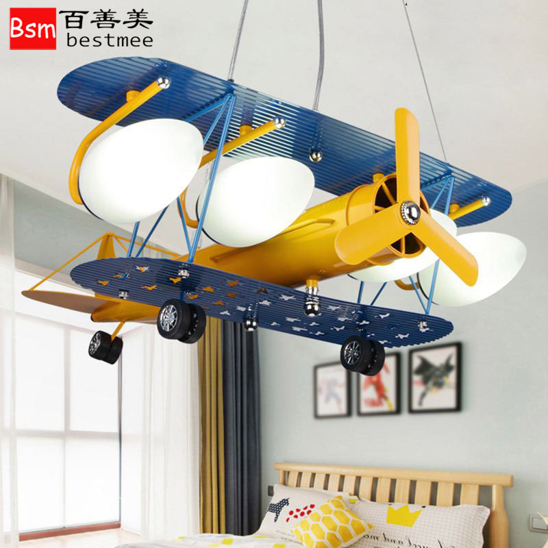 BESTMEE Đèn treo trần Đèn LED Bắc Âu Máy bay trẻ em Đèn chùm đơn giản Hiện đại American Boy Phòng ng