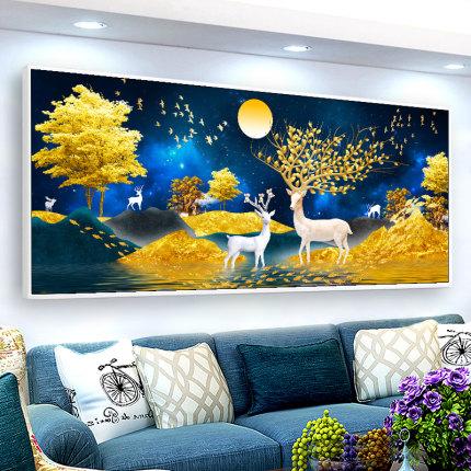 Ji Hongxiu Tranh thêu chữ thập  cross-Stitch phòng khách đơn giản hiện đại thêu ren may mắn hươu 20