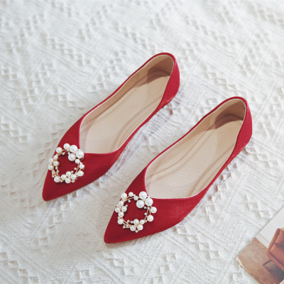 Giày cô dâu Giày đế bằng nữ đế thấp giày cưới nữ 2020 mới rhinestone ngọc trai phụ nữ mang thai Giày